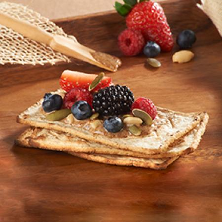 Salmas with Almond Butter and Berries
