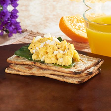 Salmas with Scrambled Eggs & Spinach