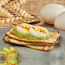 Salmas with Guacamole, Hard-boiled Egg and Paprika