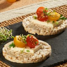 Rice Cake with Feta Cheese and Cherry Tomatoes