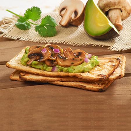Salmas with Guacamole and Garlic Mushrooms